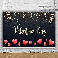Zhyポリエステル生地バレンタインs日背景7 x 5フィートの愛の写真の背景ハート形の装飾バレンタインsパーティーの背景女の子の肖像画バレンタインs日の写真の小道具