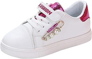 5d7178ced22 Conquro Zapatillas de Deporte para Unisex niños Niña Zapatillas Blancas  Velcro Zapatos de Gimnasia pequeñas Ligero