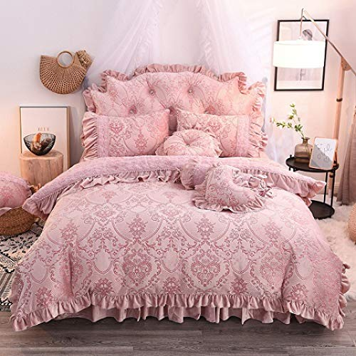 YURASIKU Princess Bedding Set Soft Fleece Jacquard Duvet Cover Set Romantic Lace Flower Design Ruffle Comforter Cover Set with Bed Skirt Girls Twin Size Light Pink
