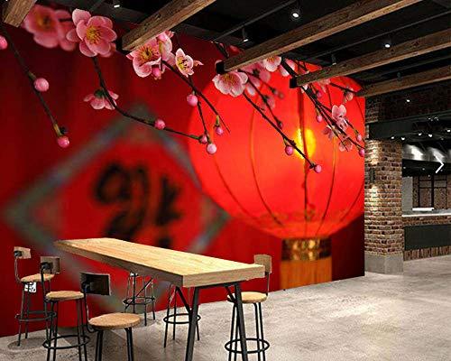 ZJfong Traditionele rode lantaarn en perzikbloesems in Chinese stijl 3D behang woonkamer TV slaapkamer restaurant wand 350x245cm