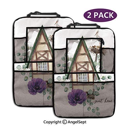 Not applicable Auto Rücksitz Organizer, Aquarell Happy Home Label Haus im alpinen Stil Storchennest lila braun, mit 9,5-Zoll-Tablet-Halter (2 Stück)