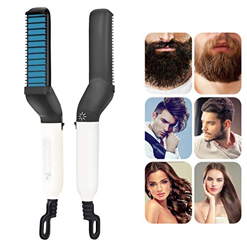 Männer Schnelle Bartglätter Kamm und Bartschablone Rasierhilfe mit Bartkamm,Multifunktionale Haar Curling Curler Bart-Kamm