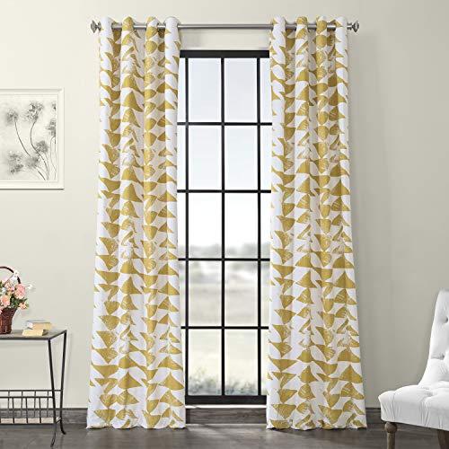 HPD Half Price Drapes PRTW-D35-96-GR Grommet Printed Cotton Twill Curtain (1 Panel), 50 X 96, Triad Gold