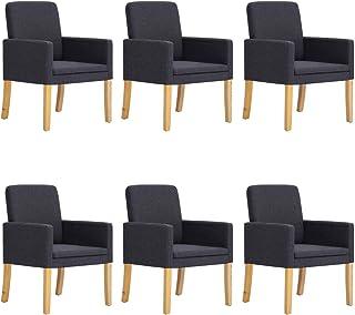 vidaXL 6X Sillas de Comedor Sillones de Salón Asientos para Casa Hogar Muebles Tapizadas en Tela Color Gris Oscuro y Patas de Madera