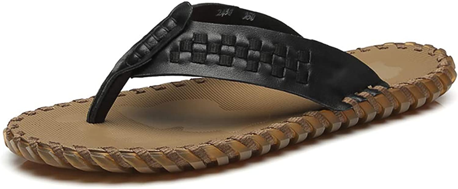 KTOL Leather Men's Flip Flops, Non-Slip Casual Sandal Soft Soles Waterproof Made Braided Slide Sandal Shower Beach shoes