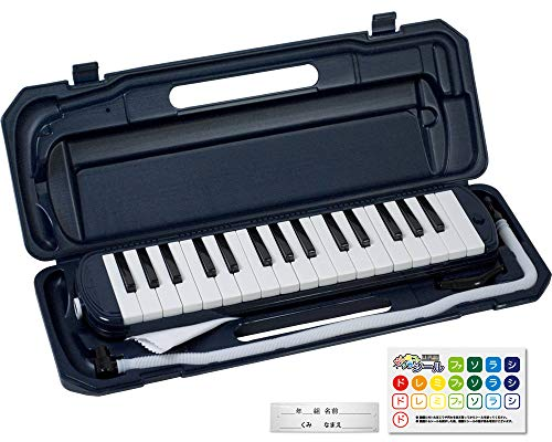 KC キョーリツ 鍵盤ハーモニカ メロディピアノ 32鍵 ネイビー P3001-32K/NV (ドレミ表記シール・クロス・お名前シール付き)