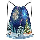 Impermeable Bolsa de Cuerdas Saco de Gimnasio navidad paisaje árbol muñeco de nieve gifbox fuegos ar...
