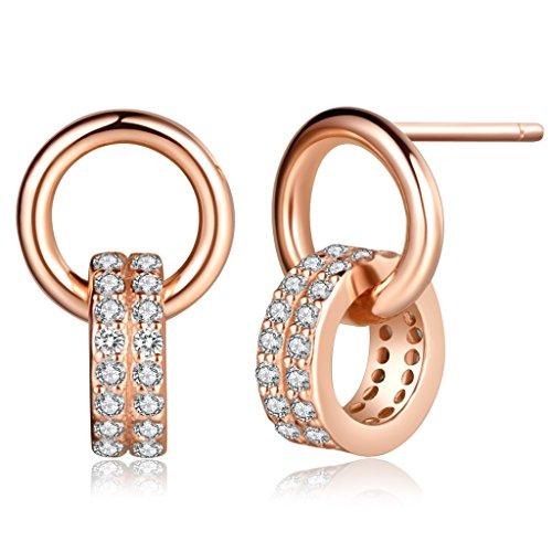 Unendlich U Ineinander Verschlungene Ringe Damen Ohrstecker 925 Sterling Silber Zirkonia Ohrringe Ohrhänger Ohrschmuck, Rosegold