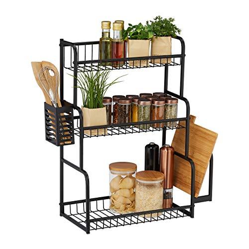 Relaxdays Küchenregal für Arbeitsplatte, 3 Ebenen, mit Brettchenhalter & Besteckhalter, Gewürzregal, Metall, schwarz