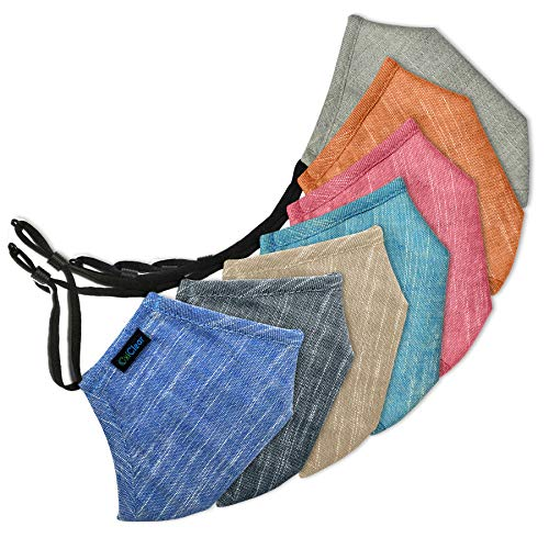 OxiClear Handloom Linen Anti Pollution Face Mask, Washable & Reusable (Pack of 7)