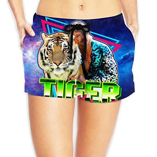 Joe Exotic Tiger King Damen 3D Bedruckte Strandshorts, Kordelzugshorts mit Taschen, Badehose Schnelltrocknen