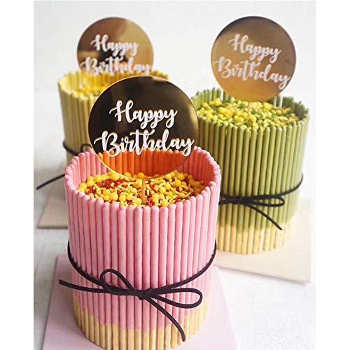 XCVB Cake-Topper voor feestdecoratieronde Happy Birthday taart Topper acryl papier Dessert tafel Dessert aankleden partij, papier goud