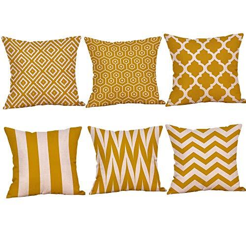 Set de 6 piezas de cojines alargados amarillos