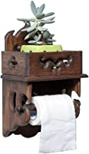 Retro massief houten toiletrolhouder met opbergplank, stootvrije wandgemonteerde toiletroldispenser voor badkamer wasruimt...