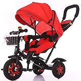 HKX Triciclo para bebé, Triciclo y Cochecito para niños 4 en 1 con asa de Empuje Ajustable, Capota extraíble, arnés de Seguridad para niños de 18 Meses a 6 años, Color Negro