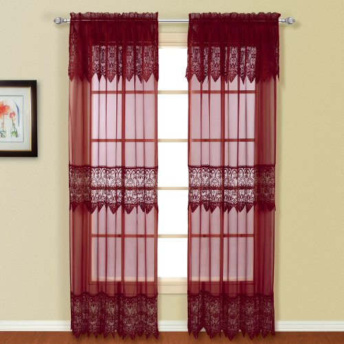 United Curtain Valerie Lace Sheer Window Curtain Panel, 52 by 84-Inch, Burgundy, Set of 2