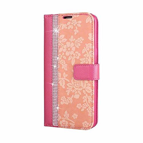 Galaxy S8 Plus Étui Housse, Billionn 3D Bling Bling Fleur Motif PU Cuir Portefeuille Flip Magnétique Coque Etui pour Samsung Galaxy S8 Plus (Rose)