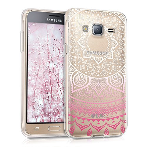 kwmobile Funda Compatible con Samsung Galaxy J3 (2016) DUOS - Carcasa de TPU y Sol hindú en Rosa Fucsia/Blanco/Transparente
