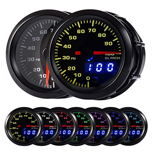 HOTSYSTEM 7 Color Oil Pressure Gauge Kit 0 to 100 PSI Pointer & LED Digital Readouts 2-1/16