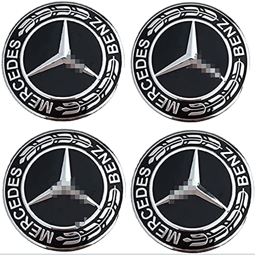 GJPSXTY Pieza de Repuesto para Tapas centrales de Rueda para Mercedes Benz, diámetro 75 mm, tapacubos Decorativa, Cubierta Negra para capó, Tapa Central, tapacubos, Cubierta Decorativa, Paquete de 4