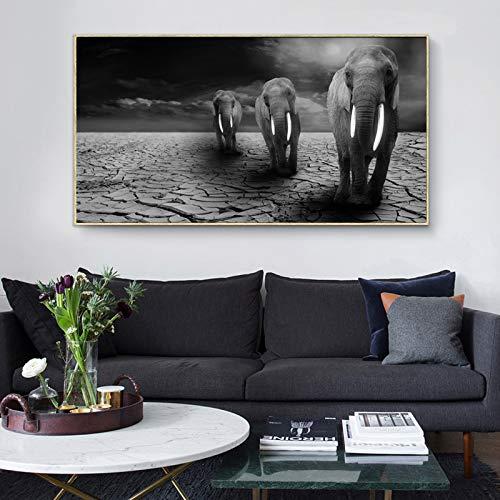 zangtang affiches en prints hongerige wilde olifanten op droog behang op canvasafbeeldingen van dieren voor de frameloze woonkamerdecoratie