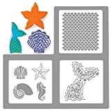 Palksky Large Size Mermaid Sea Life Cookie Stencil 3 Pack/European Artisan Bread Stencils Cupcake Stencil Food Safe Templates for Baking Decorating, Mermaid tail, scales, seashells, seahorses,(6'X6')
