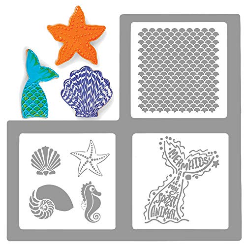 Palksky Large Size Mermaid Sea Life Cookie Stencil 3 Pack/European Artisan Bread Stencils Cupcake Stencil Food Safe Templates for Baking Decorating, Mermaid tail, scales, seashells, seahorses,(6X6)