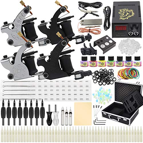 Complete Tattoo Machine Kit - Yuelong Tattoo Machine Kits Liner Shader Tattoo Guns with Power Supply Foot Pedal Inks Tattoo Needles Tips Grips Tattoo Accessices Tattoo Supplies (Black)