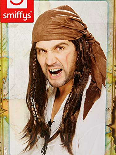 Smiffys mens Buccaneer Pirate Costume Wig, Brown, One Size US