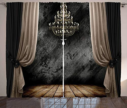 """Ambesonne Classical Curtains, Ball Room Chandelier Look Illustration in Dark Tones Medieval Antique Times, Living Room Bedroom Window Drapes 2 Panel Set, 108"""" X 90"""", Black and Sepia"""