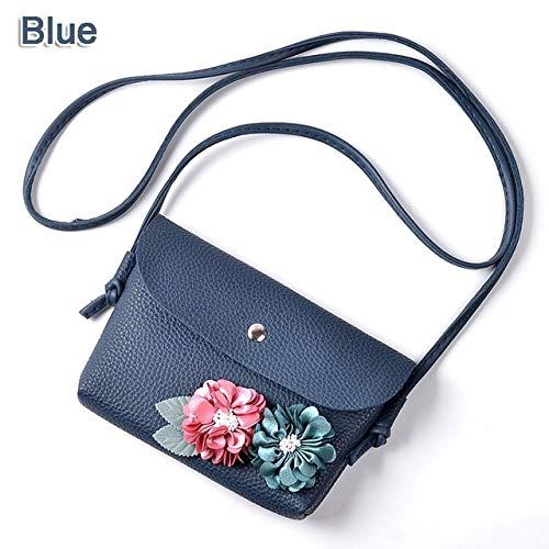 Bolso de mensajero con solapa para mujer, bolso de hombro cruzado, monedero, llaves, monedero, monedero, monedero, diseño de flores, color azul