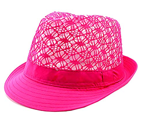 Ibiza rares Chapeaux Designer Chapeaux Party Fedora spécial Edition Neon Chapeau Trilby D'Été Plage Chapeau Designer Fluo Fedora - Multicolore - L