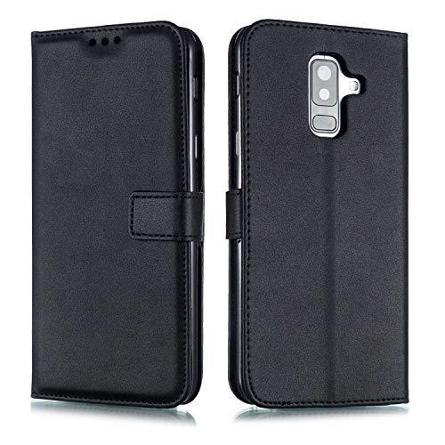 DENDICO Coque Galaxy A6 Plus, Ultra Mince Coque de Protection en Cuir pour Samsung Galaxy A6 Plus, Portefeuille Housse avec Stand Support et Carte de Crédit Slot - Noir