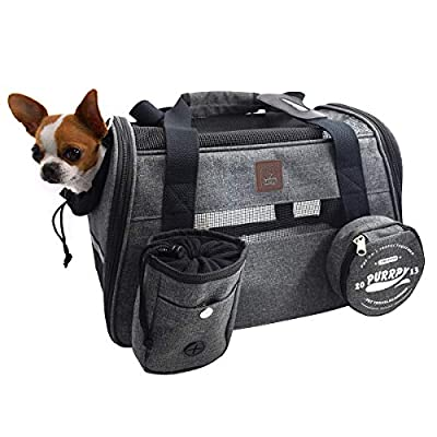 Pet Carrier Airline Approved Cat Carriers Dog Carrier for Small Medium Pets, 15 lbs Small Dog Carrier, Soft Sided Puppy Carrier (Grey)