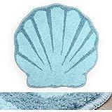 RORA Bath Rug Aqua Blue Seashell Shape Cartoon Plush Water Absorbent Bathroom Decor Mat Bathtub Bathroom Doormats for Kid's Bathroom Children's Room Non Slip Washable Toilet Rug