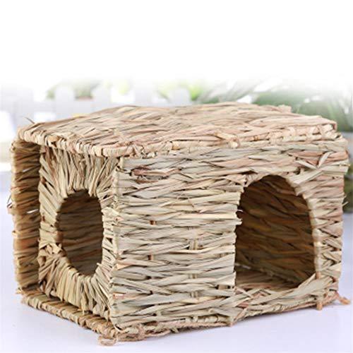 SJHFG Pet Nest Lindo Hamster Casa Conejos Chinchillas Jaula Decoración Accesorios Hecho a Mano Natural Grass Net