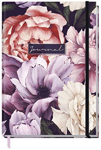Bullet Journal dotted A5 mit Gummiband [Purple Flower] 156 Seiten | Notizbuch gepunktet, Tagebuch von Trendstuff by Häfft | nachhaltig & klimaneutral