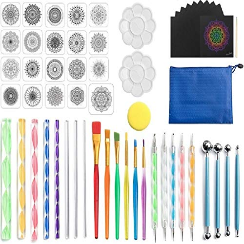 57 PCS Mandala Dotting Tools Set with a Blue Zipper Waterproof Storage Bag,Painting for Rocks Ball, Nail Art Desgin,DIY Tools,Kids' Crafts …