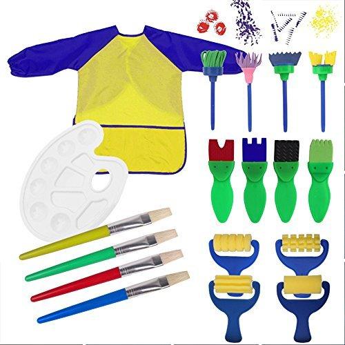 Centtechi (18 PCS) Set di Pennelli Pittura di Spugna,18 Pezzi Paint Spugne per Bambini Lavabile con Palette e Grembiule Apprendimento Arte Mestiere Precoce Strumenti di Pittura Fai da Te