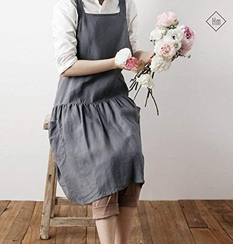 Cozymom Linen 100 Premium Gift Chef Works Handmade Apron Japanese Style Cross Back Shape Cotton APRON 5 Colors With Pockets Grey Color