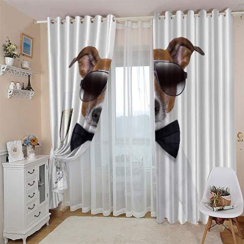 cortinas opacas 2 piezas 52x108 Inch Animales perros gafas de sol champagne Proteccion Privacidad Cortina Opaca Moderno Cortinas Largas Salón -Panel de Drapeados Blackout para Probador Puerta Ventana