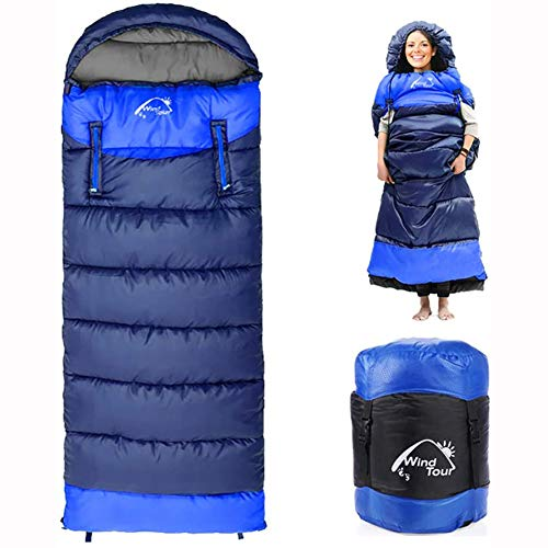 PASLWSSY Wearable Sleeping Bag for Adults Compact Lightweight Cold Weather Mummy Sleeping Bags for 4 Season Camping Backpacking, More Warmer,Blue,1650g