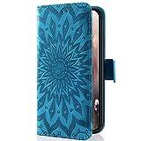 Kompatibel mit Handyhülle Huawei G Play Mini/Honor 4C Leder Tasche Schutzhülle Handytasche Mandala Blumen Prägung Muster Ledertasche Lederhülle Bookstyle Klapphülle Flip Cover mit Kartenfach,Blau