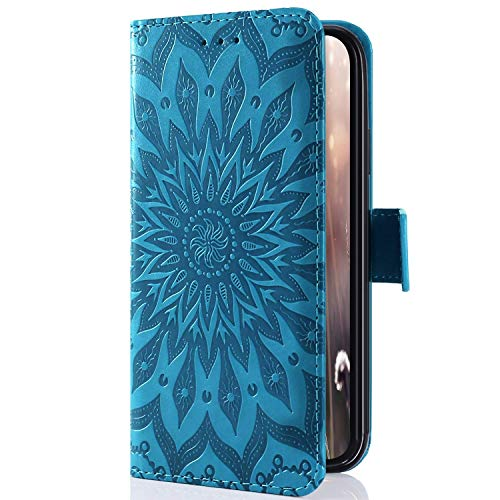 Kompatibel mit Handyhülle Galaxy Core Prime Leder Tasche Schutzhülle Handytasche Mandala Blumen Prägung Muster Ledertasche Lederhülle Bookstyle Klapphülle Flip Cover mit Kartenfach,Blau