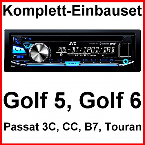 Komplett-Set Golf 5 6 Passat 3C CC Touran JVC KD-DB97BT Autoradio USB DAB