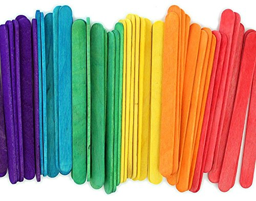 Popsicle Wooden Color Craft Sticks - Vibrant Fun Colors, Colored Popsicle Sticks for Crafts - 4 1/2-Inch - Pack of 240 Popsicle Stick - Ideal for Crafters, Teachers Kids and Students.