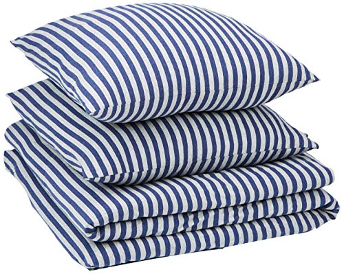 Amazon Basics - Bettwäsche-Set, Jersey, gestreift, 240 x 220 cm / 65 x 65 cm, Marineblau
