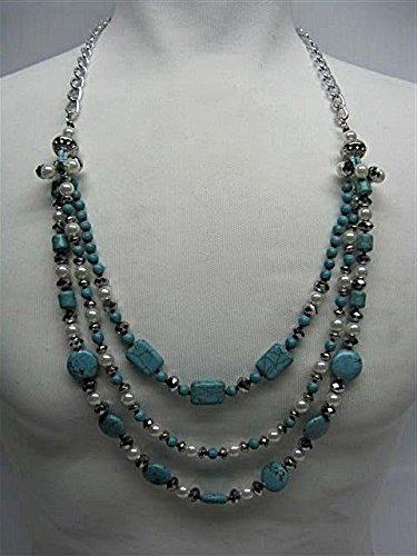 Natural mente – Turquoise, Howlite, collier, env. 65 cm, pierre naturelle, collier, chaîne, turquoise, Howlite, n ° 1014