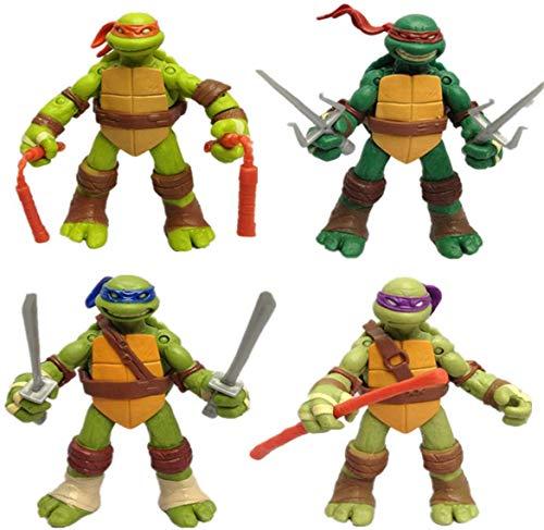 Happy Island Four Teenage Mutant Ninja Turtles Dolls Handy Dolls Transparent Bag Model Toys, Anime Surroundings TMNT