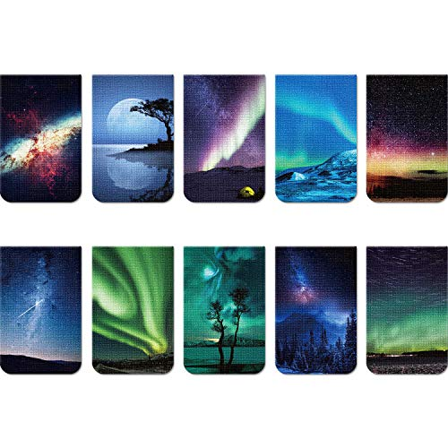 10 Pieces Magnetic Bookmarks Night Sky  Aurora Magnet Page Clips Page Markers Assorted Book Markers Set for Students Reading Aurora Syle 21 x 13 Inch